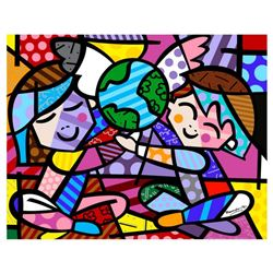 """Romero Britto """"New Children Of The World"""" Hand Signed Giclee on Canvas; Authenticated"""