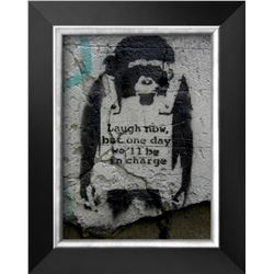 "Banksy ""Laugh Now"" Cusom Framed"