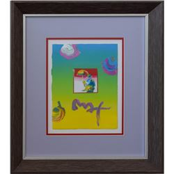 "Peter Max- Original Mixed Media ""Heart"""