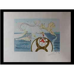 """Salvador Dali- Original Engravings with color by pochoir """"The Sewing Machine"""""""