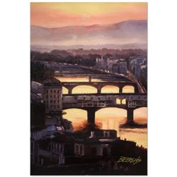 """Howard Behrens (1933-2014), """"Sunset at the Ponte Vecchio (Florence)"""" Limited Edition Hand Embellishe"""