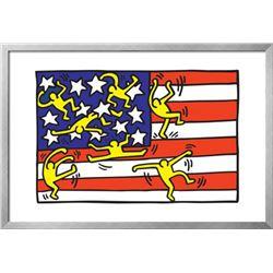 """Keith Haring """"Untitled Pop Art"""" Custom Framed"""
