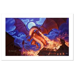 """""""Smaug Destroys Laketown"""" Limited Edition Giclee on Canvas by Greg Hildebrandt. Numbered and Hand Si"""