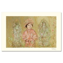 """Willie and Two Quan Yins"" Limited Edition Lithograph by Edna Hibel, Numbered and Hand Signed with C"