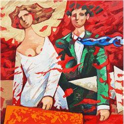"""Giampaolo Talani """"PARTENZE ROSSE"""" Original Serigraph"""