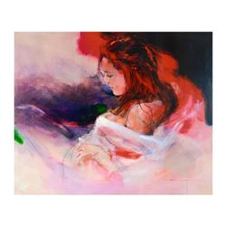 "Christine Comyn, ""Woman in Red"" Limited Edition on Canvas, Numbered and Hand Signed with Letter of A"