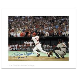 """""""Pete Rose 4192"""" - Archival Photograph Featuring Pete Rose Hitting his Record Breaking Hit - Number"""