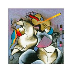 """David Schluss, """"Violin At Dusk"""" Limited Edition Serigraph, Numbered and Hand Signed with Letter of A"""