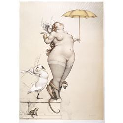 "Michael Parkes ""Rain"" Original Hand Pulled Stone Lithographs"