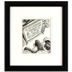 "Bizarro! ""TV - Don't Read a Book"" is a Framed Original Pen & Ink Drawing by Dan Piraro, Hand Signed"