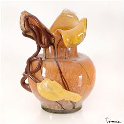 Coman, Hand Blown Glass Vase Sculpture, Hand Signed.