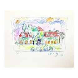 "Wayne Ensrud ""Inglenook Winery, Napa Valley"" Mixed Media Original Artwork; Hand Signed; COA"