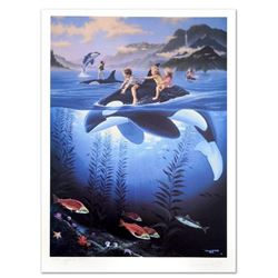 """""""Whale Rides"""" Limited Edition Lithograph by Celebrated Artists Wyland and Jim Warren, Numbered and H"""