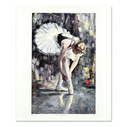 """Elena Bond, """"White Slippers"""" Hand Embellished Limited Edition Mixed Media, Numbered and Hand Signed"""