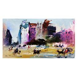 "Shalva Phachoshvili- Original Oil on Canvas ""Main Square"""