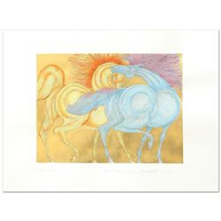 """Guillaume Azoulay, """"Tryst"""" Limited Edition Hand-Watercolored Etching with Hand Laid Gold Leaf, Numbe"""