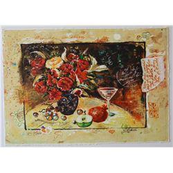 "Sergey Kovrigo- Original Serigraph on Paper ""Wine and Roses"""