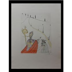 "Salvador Dali- Hand Colored Original Etching ""The Sacred Love of Gala"""