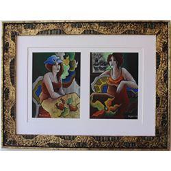 "Patricia Govezensky- Original pastel color on paper ""Mother-Daughter"""