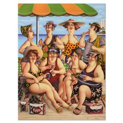 """Carlos Ferreyra, """"At the Beach"""" Limited Edition Serigraph on Clay-Board, Numbered and Hand Signed wi"""