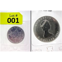 1989 Silver Royal Canadian Mint Maple Leaf Coin
