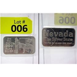 1 Oz. .999 Fine Silver Nevada Miner/Mule Bar