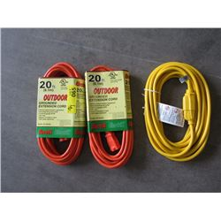2 Foot & Two 20 Foot Extension Cords