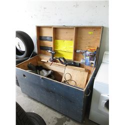 Large Wood Construction Work Box & Contents