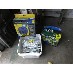 Bucket of Large Bolts & 2 Expanding Garden Hoses