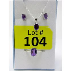 New 3 Piece Matching Sterling Silver Amethyst Set