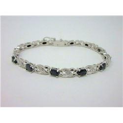 7.8 CT Sapphire & Diamond Tennis Bracelet