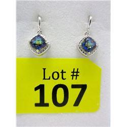 New Ocean Blue Topaz & Diamond Dangle Earrings