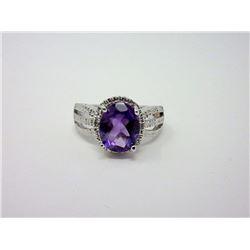 2.4 CT Sterling Silver Amethyst 7 Diamond Ring