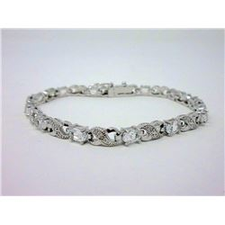 White Topaz & Diamond Tennis Bracelet
