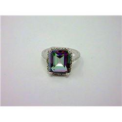 Huge Mystic Topaz & Diamond Solitaire Ring