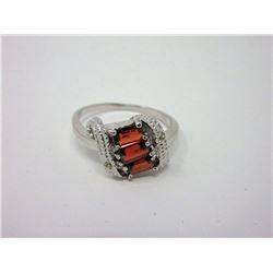 Sterling Silver Garnet & Diamond Cocktail Ring