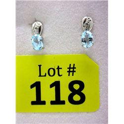 New Diamond & Blue Topaz Sterling Silver Earrings