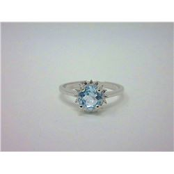 Blue Topaz Sterling Silver Solitaire Ring