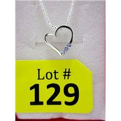 Sterling Silver Tanzanite Heart Necklace