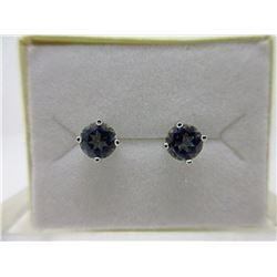 New Ocean Blue Topaz & Diamond Stud Earrings