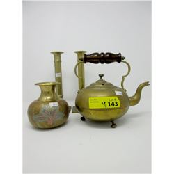Brass Candlesticks, Vase and Antique Toddy Kettle