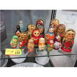 19 Wood Nesting Doll Pieces & Sets - Many Vintage