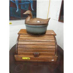 Ceramic Duck Top Casserole & Wood Bread Box