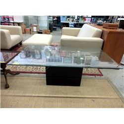 Glass Topped Coffee Table with Stone Base