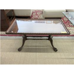 Vintage Wood Coffee Table with Ball & Talon Foot