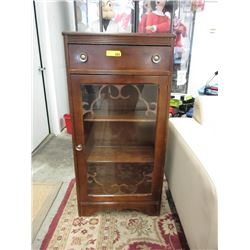 Small 1940's Glass Door Cabinet with Drawer
