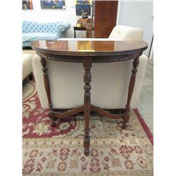 Antique Wood Half Moon Table