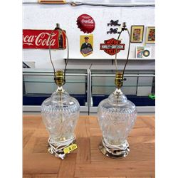 Two Large Pin Wheel Crystal Table Lamps