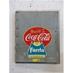 Vintage Cooler Door with Coke & Fanta Advertising
