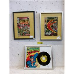 3 Pressure Framed Vintage Comics - No adhesive
